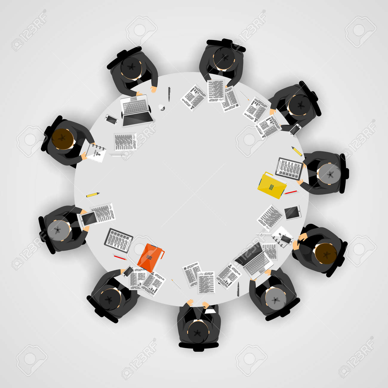 Business people at a round table. Vector illustration - 128489978
