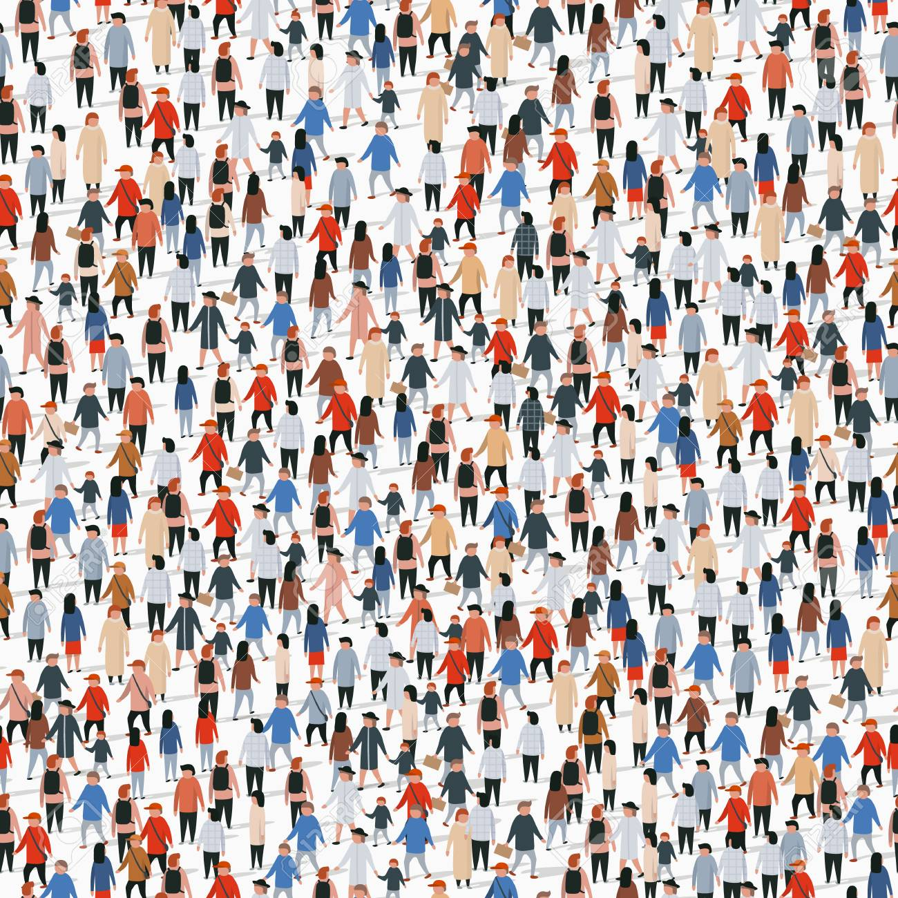 Large group of people. Vector seamless background - 128490006