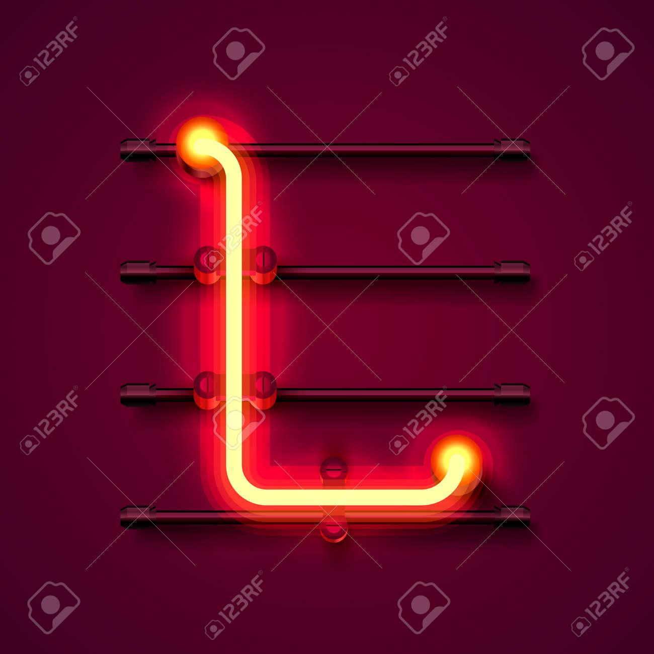 Neon font letter L, art design signboard. Vector illustration - 128490400