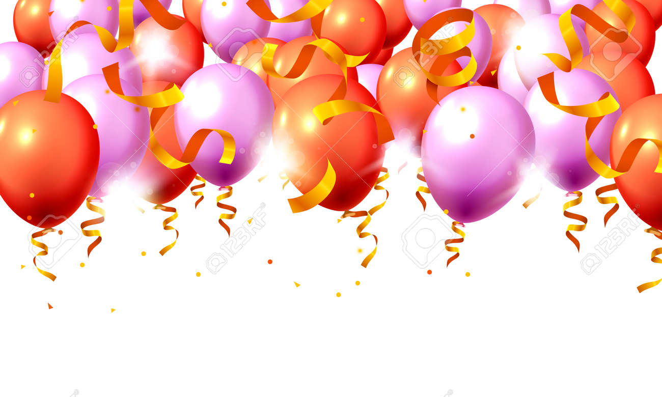 Festive color purple and red balloon party background. Vector illustration - 128490803