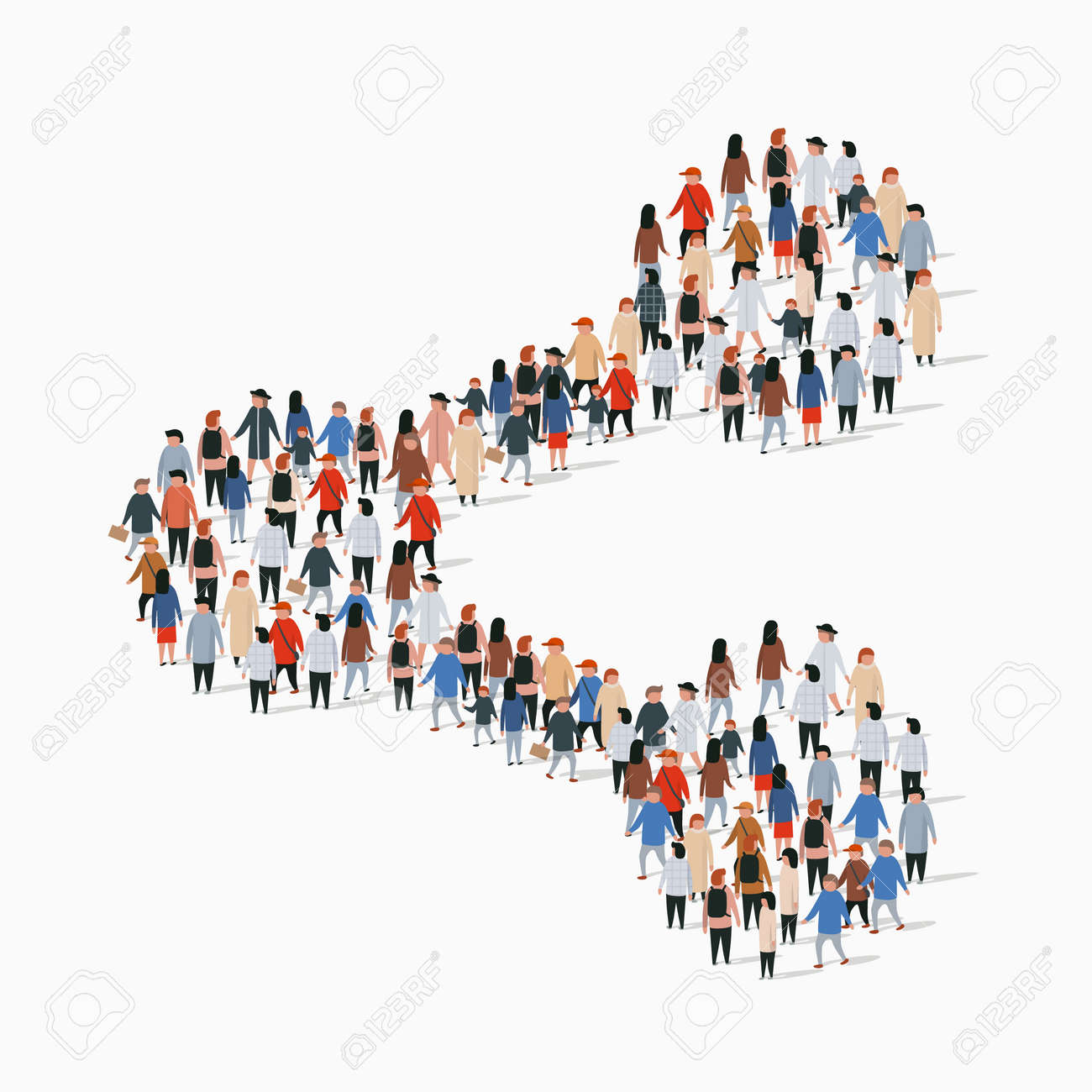 Large group of people in the shape of share sign. Vector illustration. - 128491083