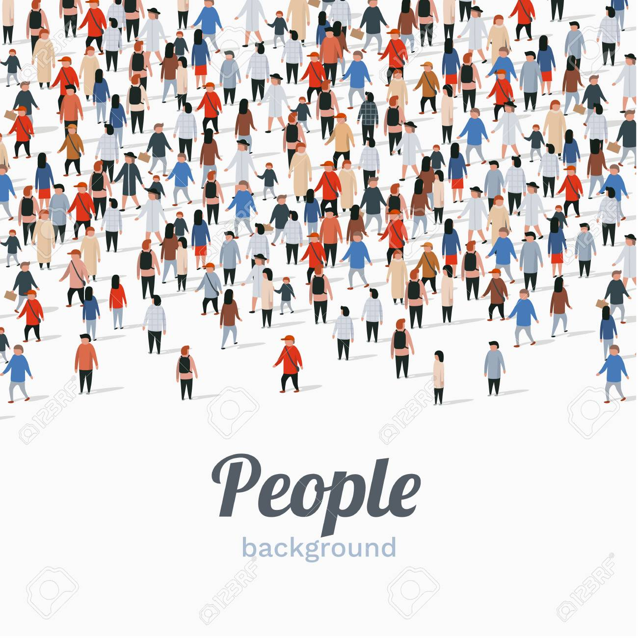 Large group of people on white background. People communication concept. Vector illustration - 128491150