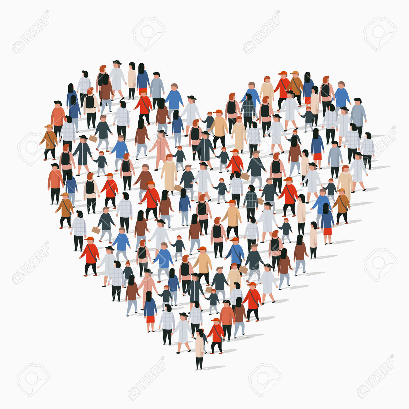 Large group of people in the heart sign shape. Vector illustration - 128491341