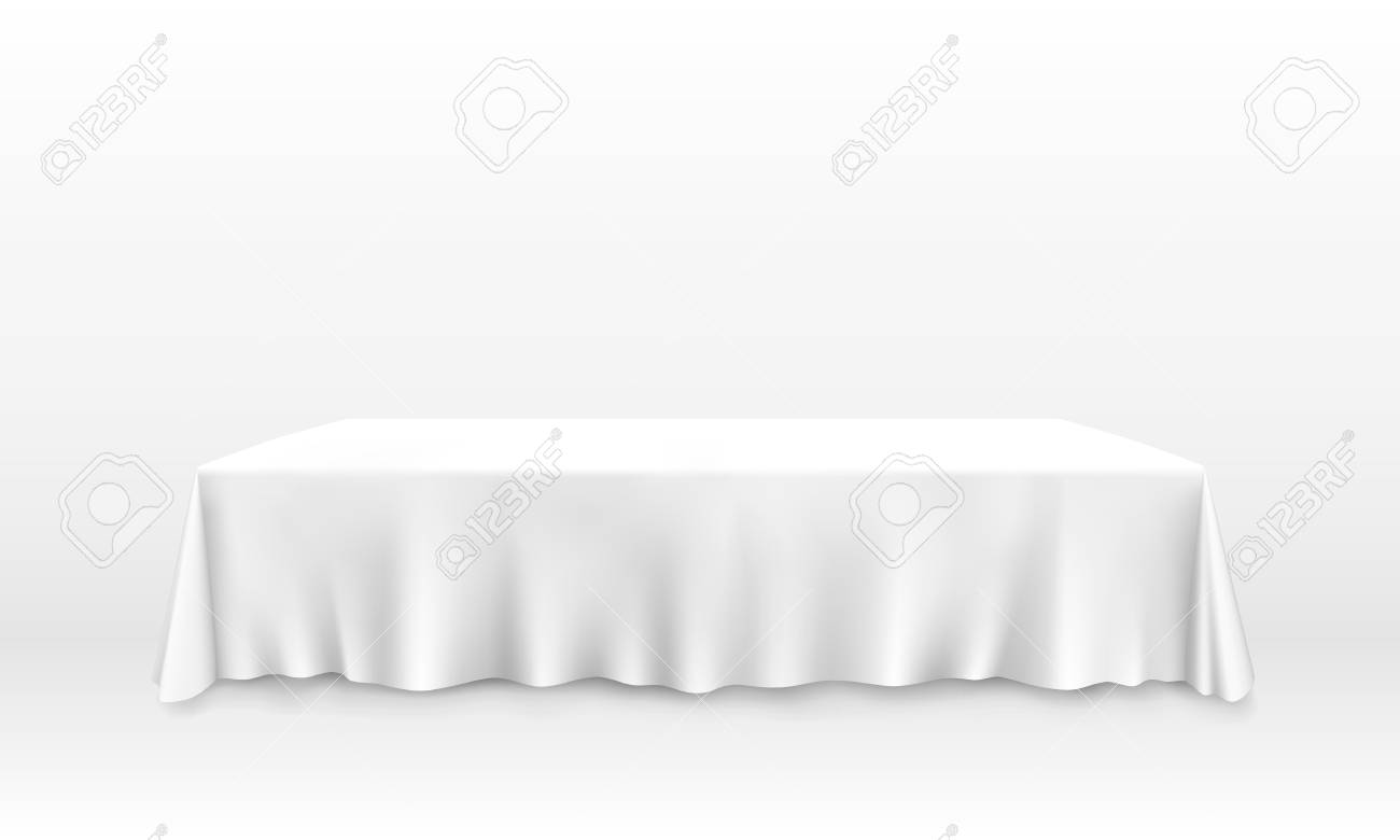 Table with tablecloth art banner, white background. Vector illustration - 128491388