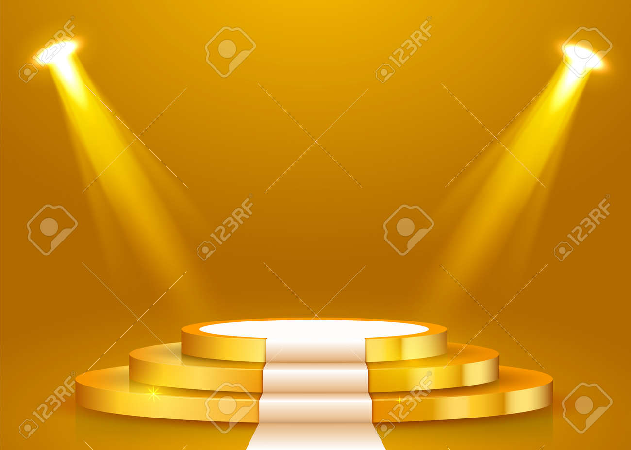 Abstract round podium with white carpet illuminated with spotlight. Award ceremony concept. Stage backdrop. Vector illustration - 124159585