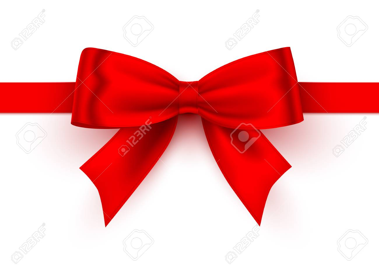 Bow red tape on the white background. Vector illustration - 128492245