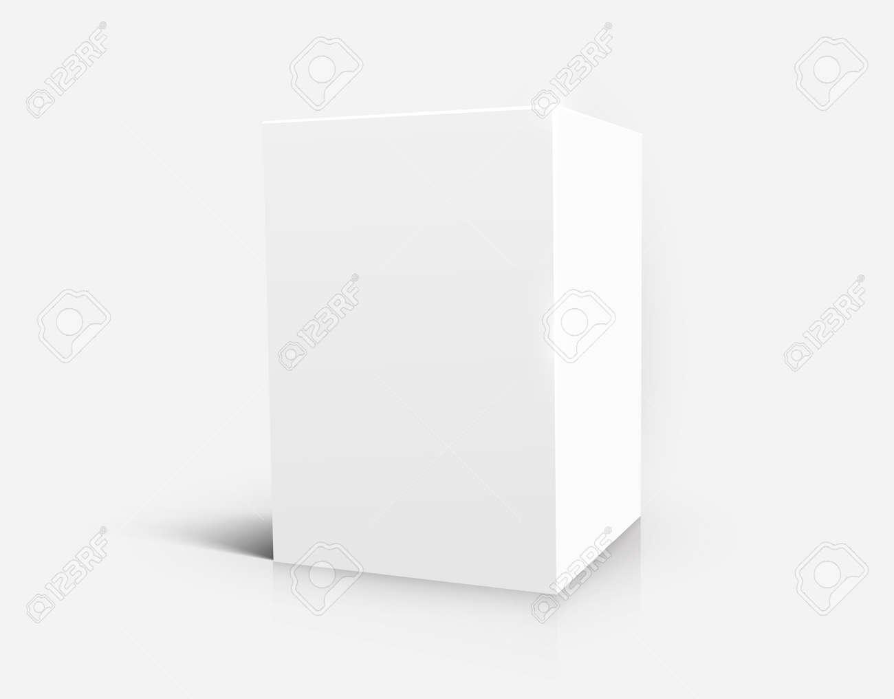 Blank white cube isolated on white background. Vector illustration - 128049066