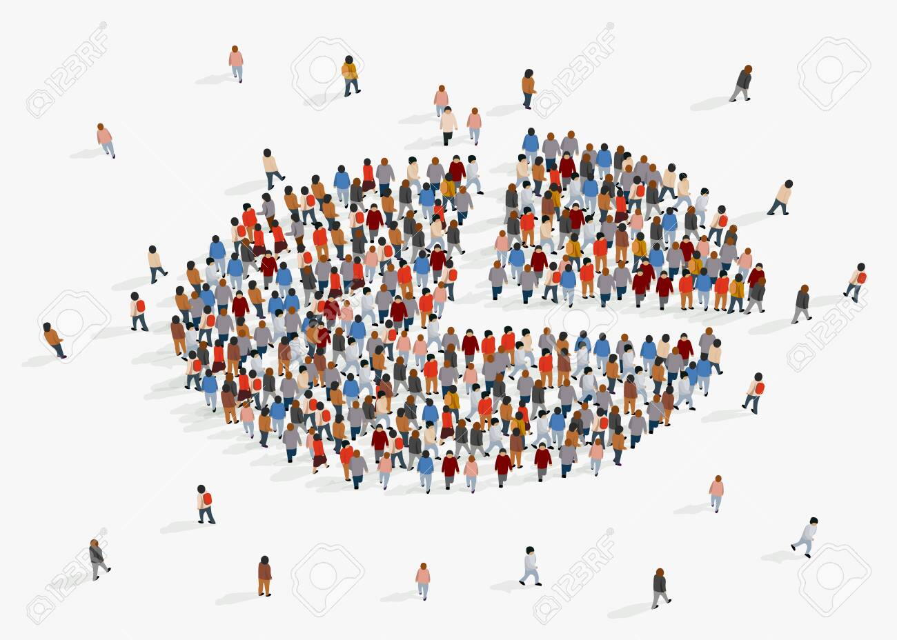 Population demographics report, pie chart composed of people. Vector illustration - 128498358
