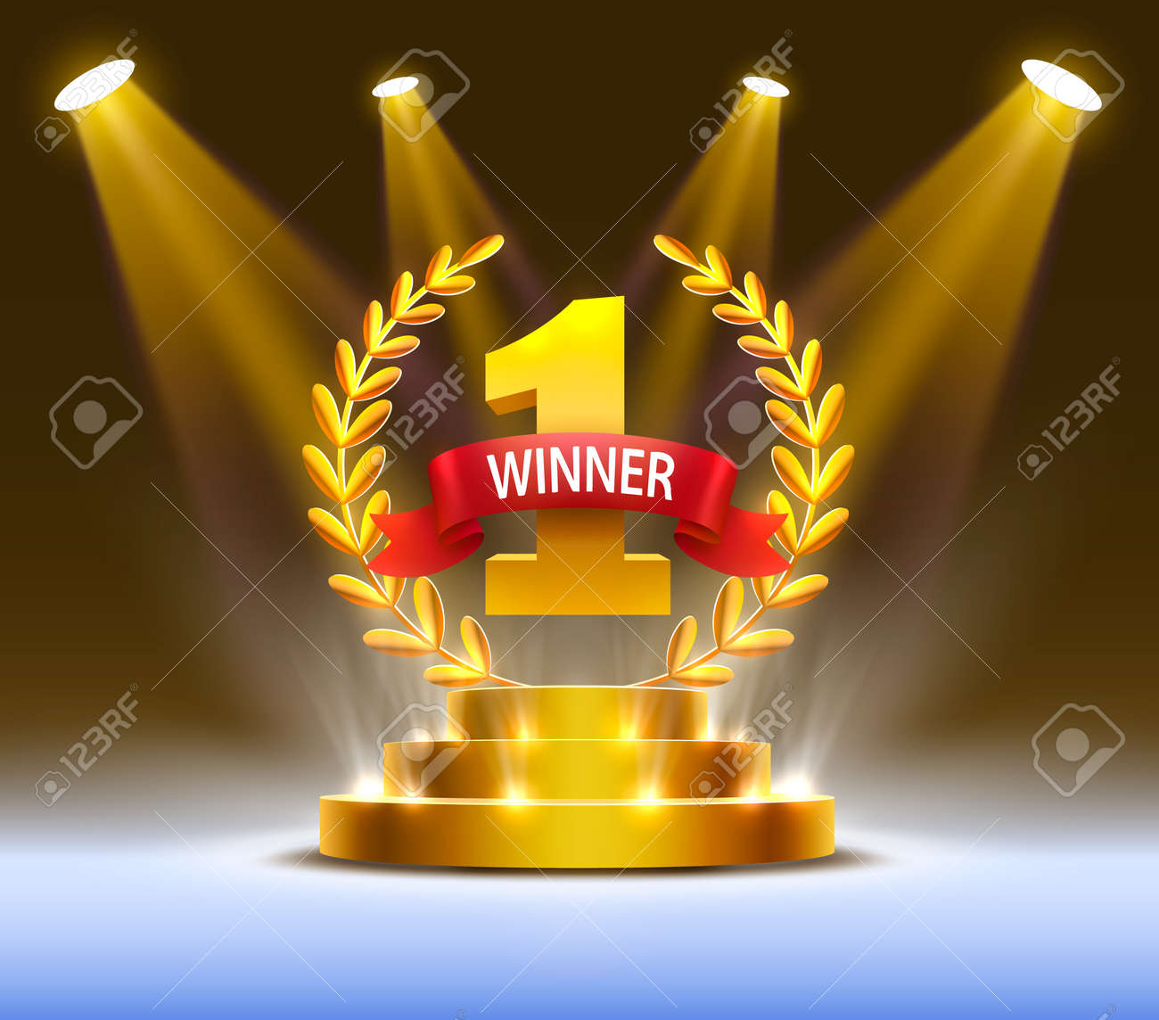 Stage podium with lighting, Stage Podium Scene with for Award Ceremony on Night Background. Vector illustration - 131509915