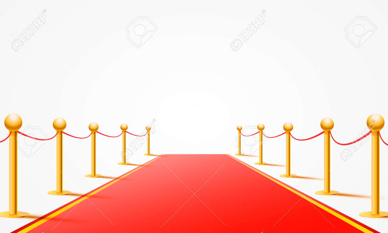 Red event carpet on the white background. Vector illustration - 131765427