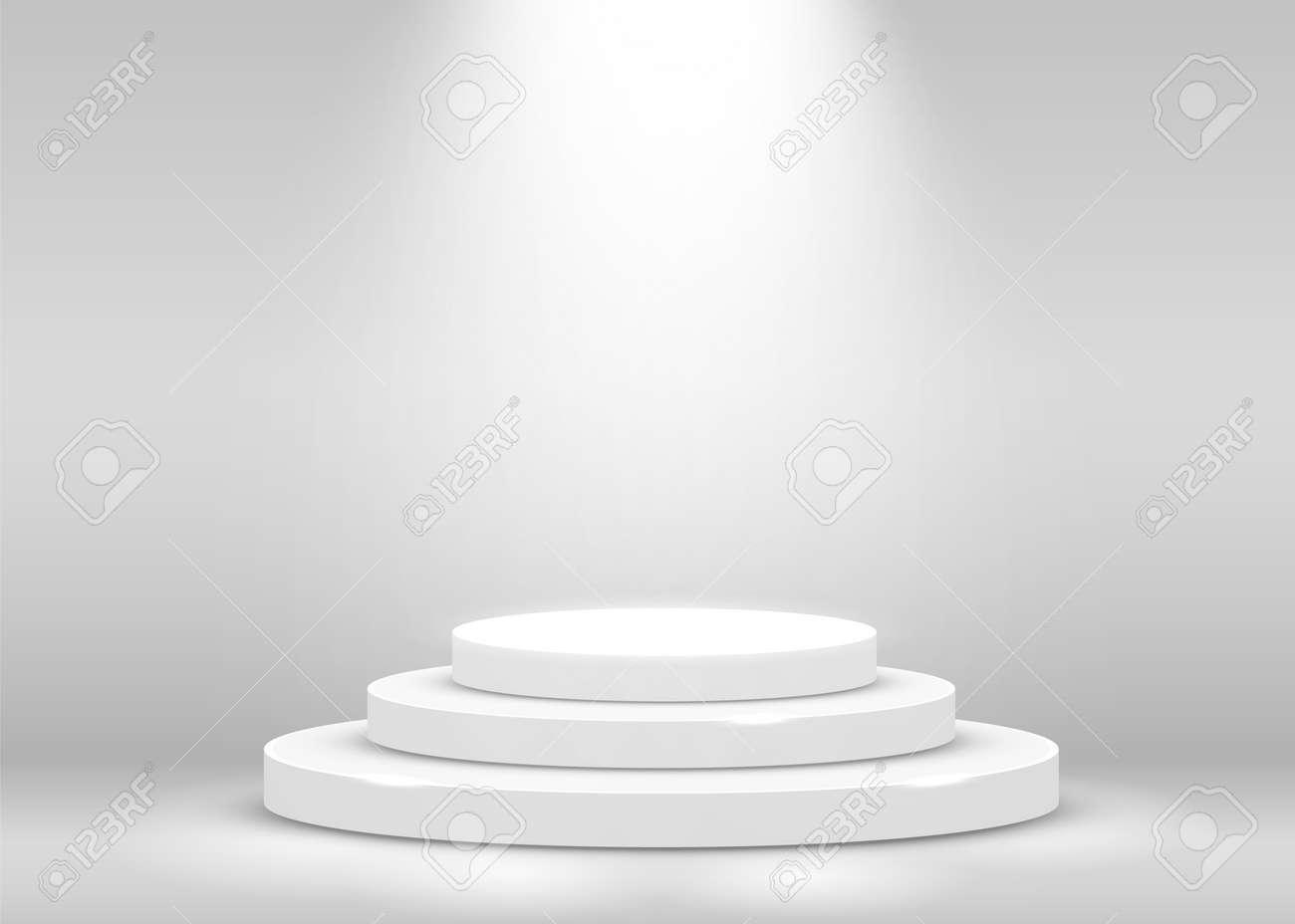 Stage Podium Scene for Award Ceremony illuminated with spotlight. Award ceremony concept. Stage backdrop. Vector illustration - 133421796