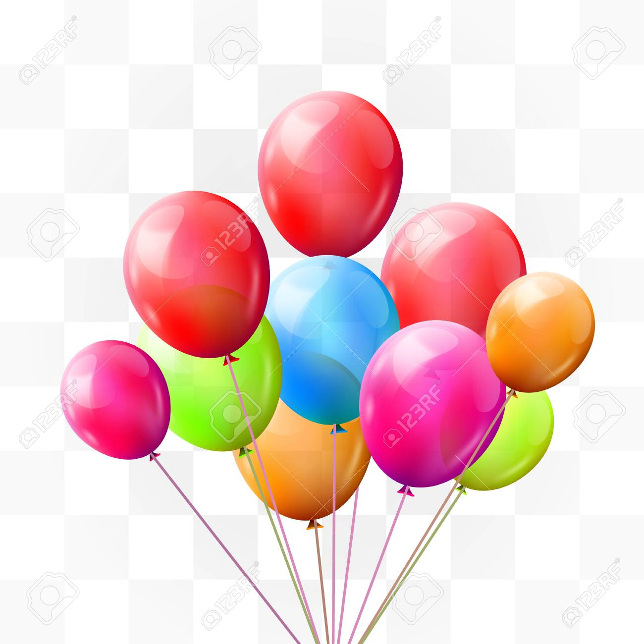 Balloon brunch on transparent background. Greeting, happy birthday concept. Vector illustration - 133423986