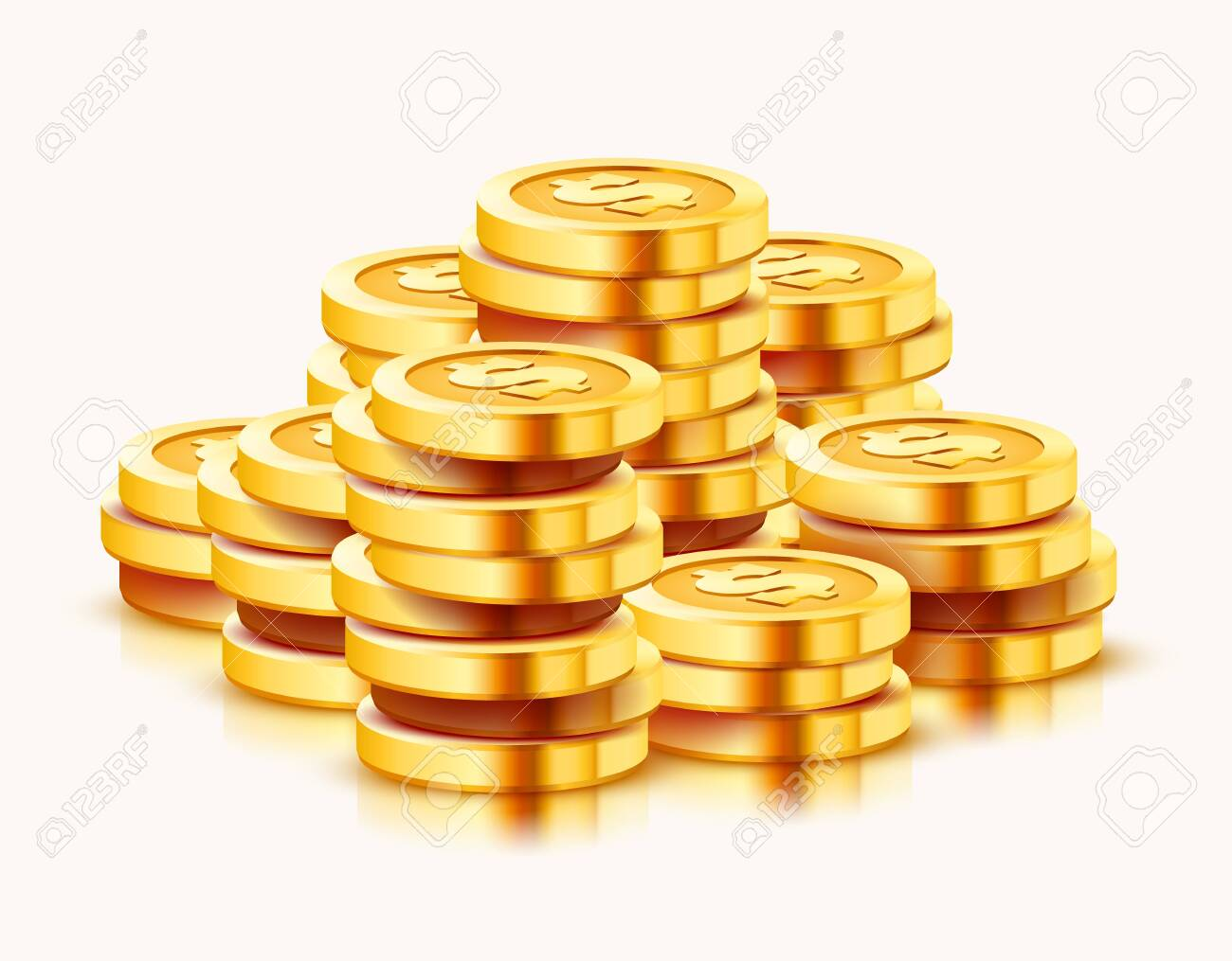 Growing stack of golden dollar coins isolated on white background. Economics concept. Vector illustration - 133423856