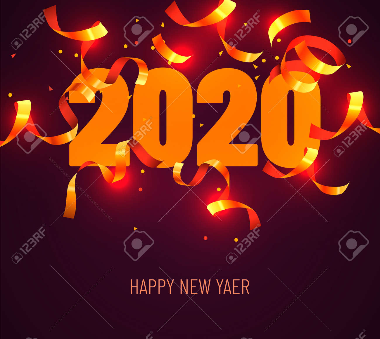 2020 Happy New Year Greeting with Gold Confetti. Vector Illustration. Design element for flyers, leaflets, postcards and posters. Vector illustration - 134155694