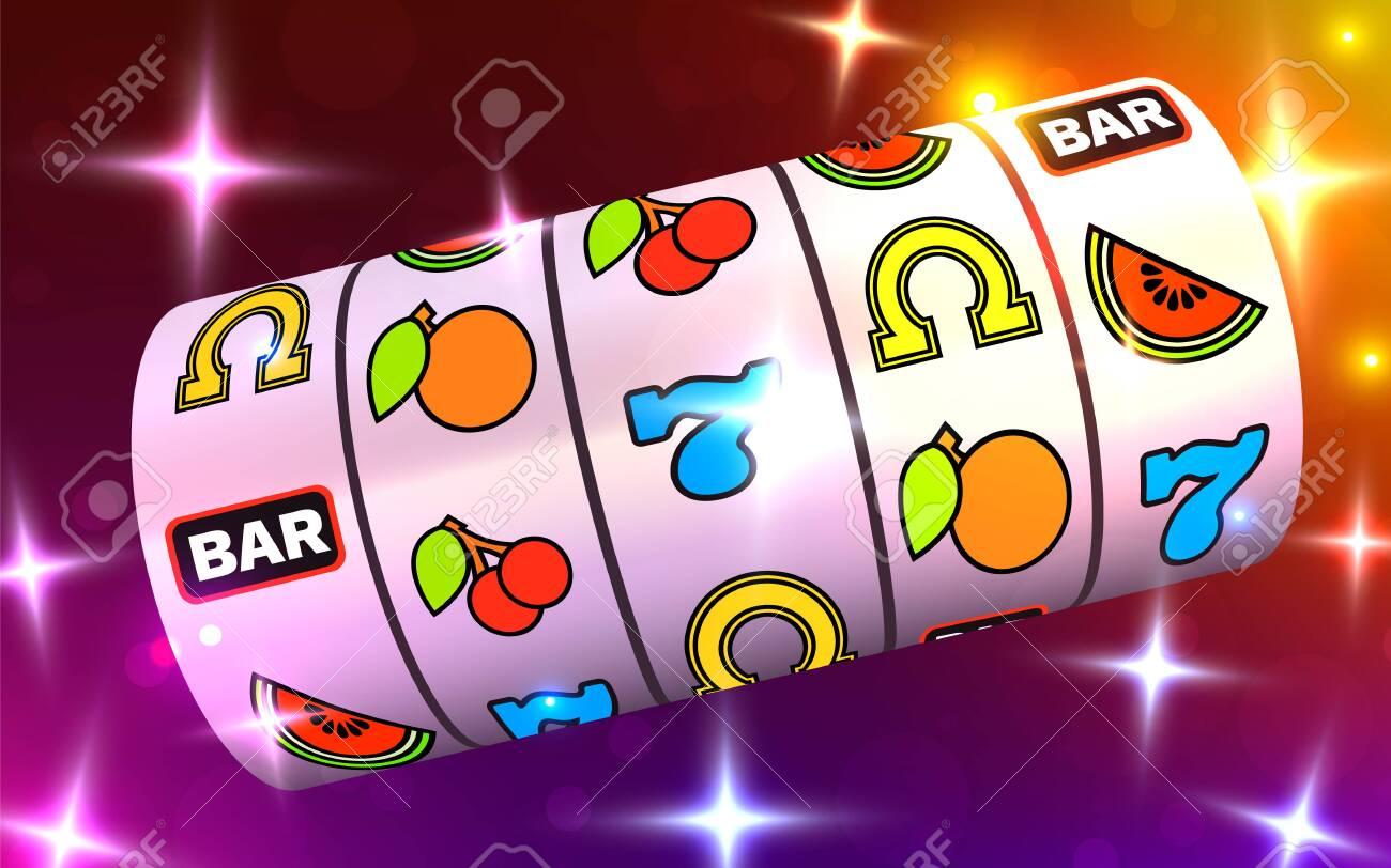Slot Machine Wins The Jackpot 777 Big Win Casino Concept Royalty