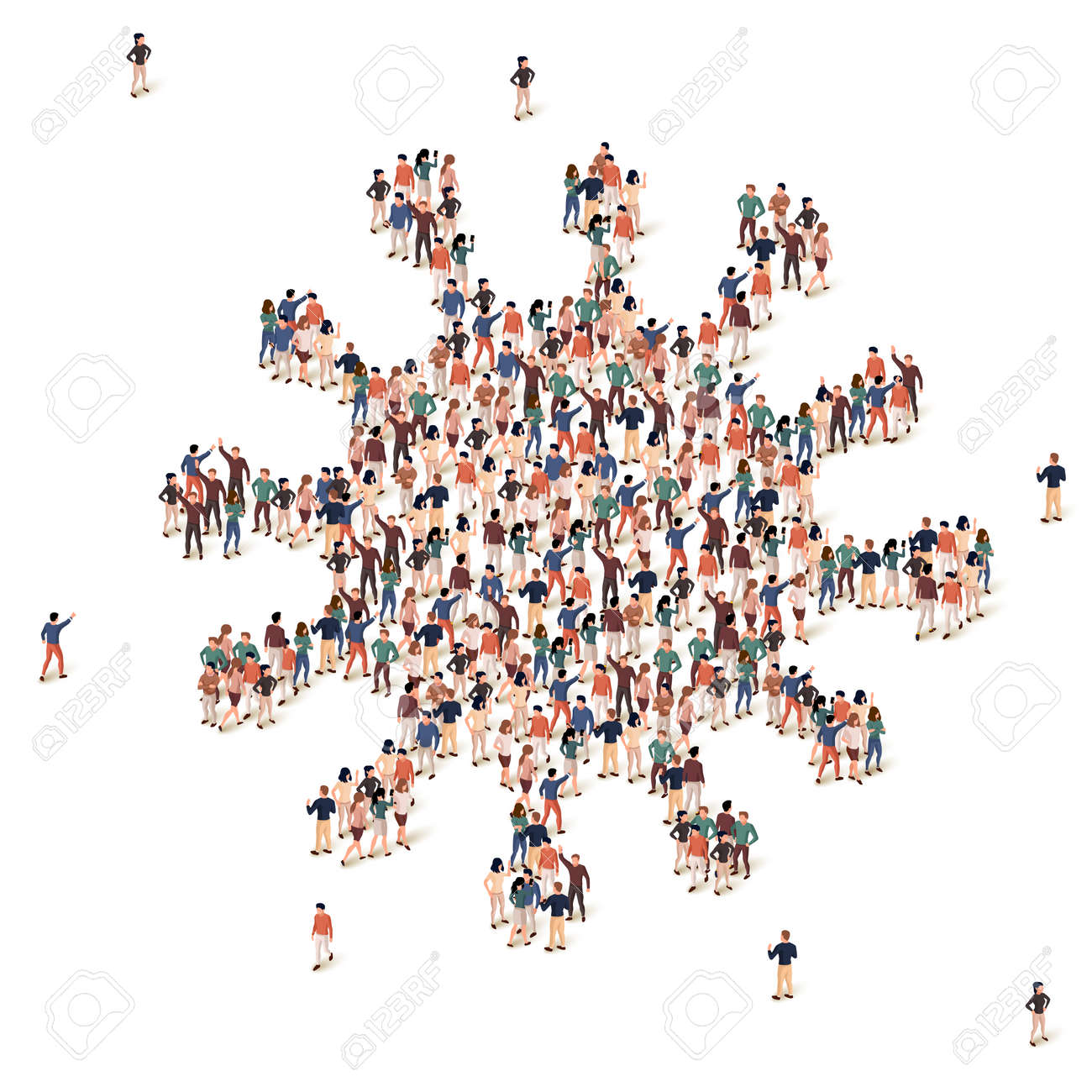 Group of people in shape of coronavirus form. Covid-19 infection epidemic or pandemic. - 142336391