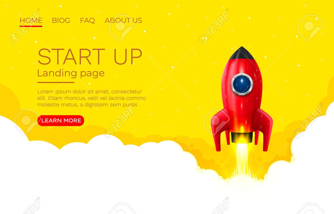 Start up idea Landing page screen, development technology, rocket banner. Vector - 165947357