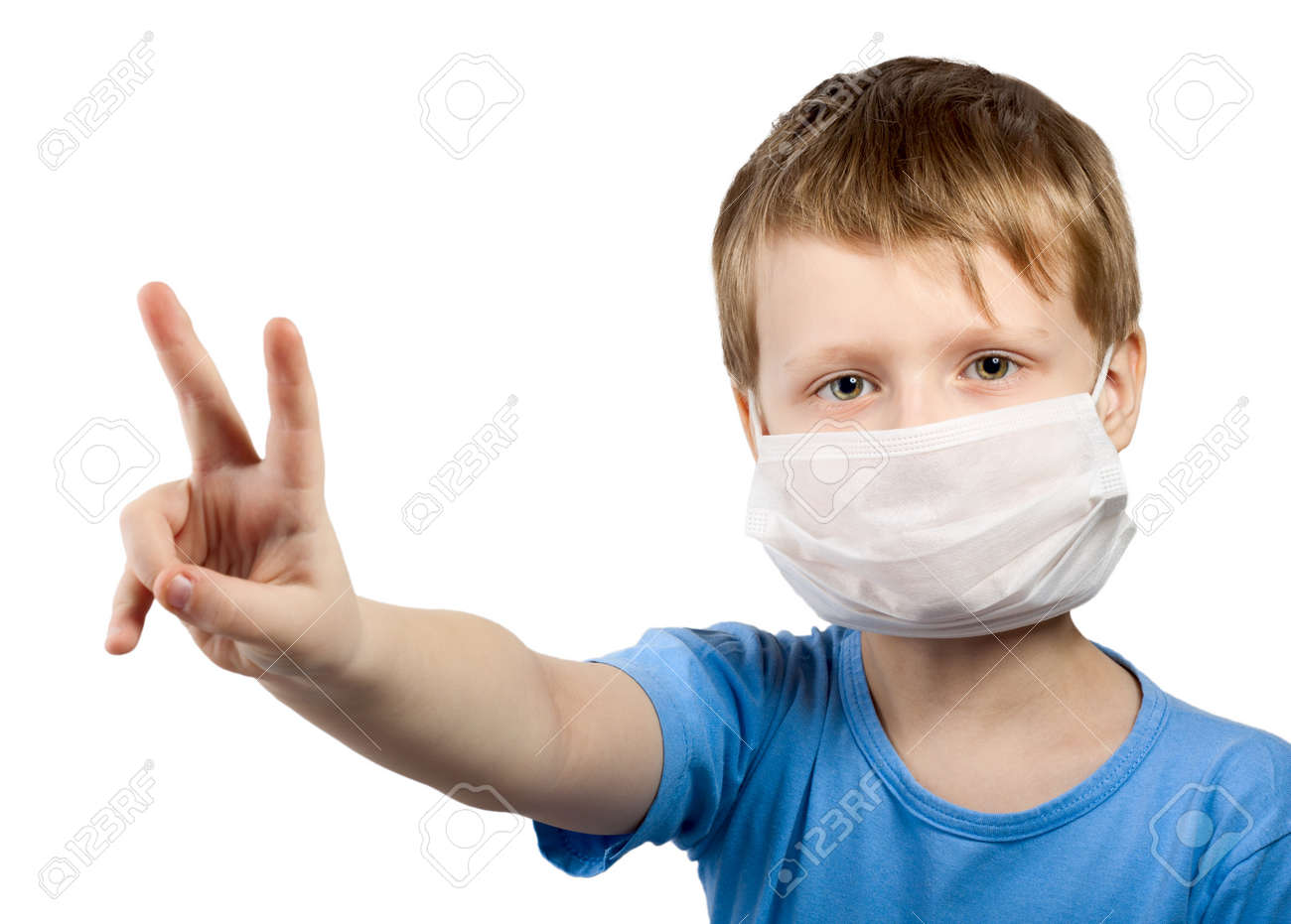 Boy Healthcare Medicine In Isolated Child Flu Mask Illness Surgical