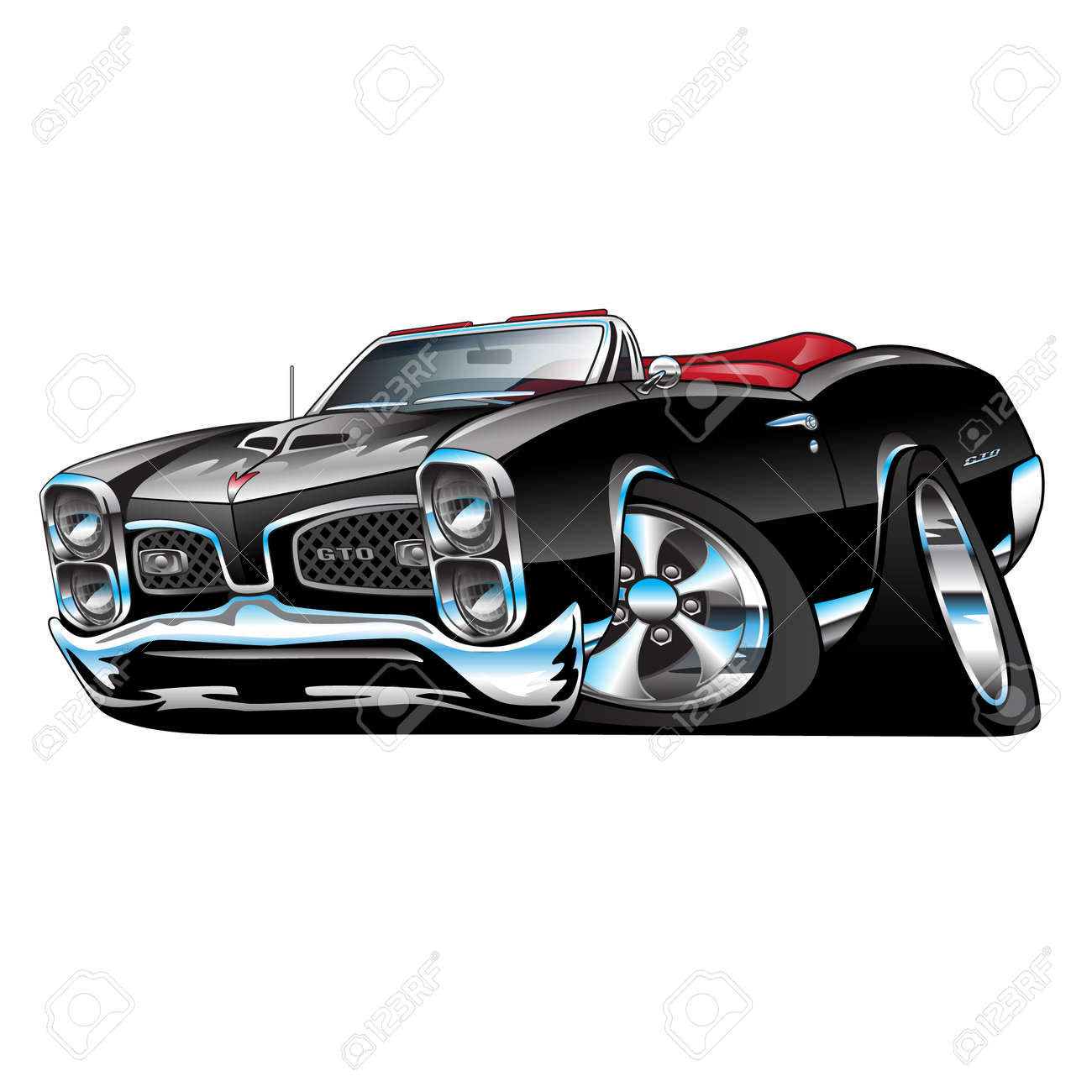 American Muscle Car Black Convertible Cartoon Illustration