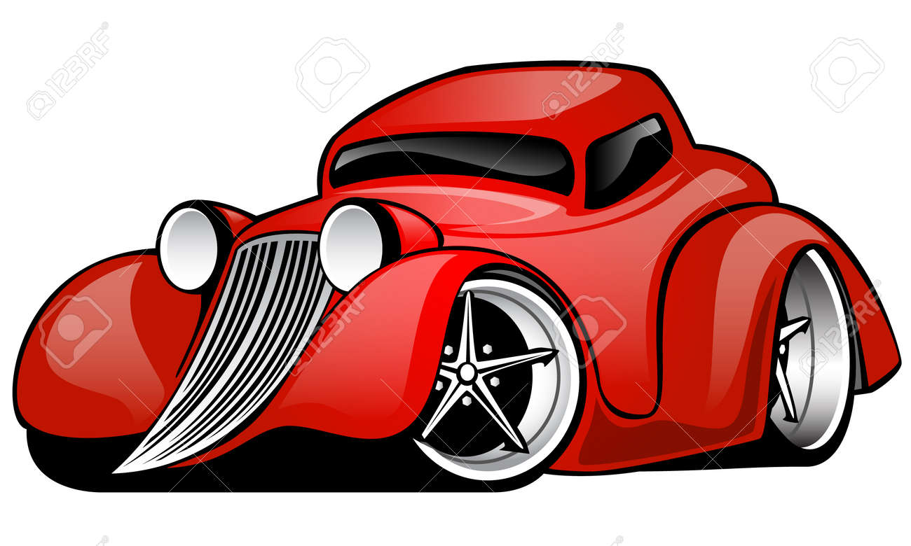 red hot rod custom coupe cartoon illustration isolated on white rh 123rf com hot rod flames clip art free free hot rod clipart images
