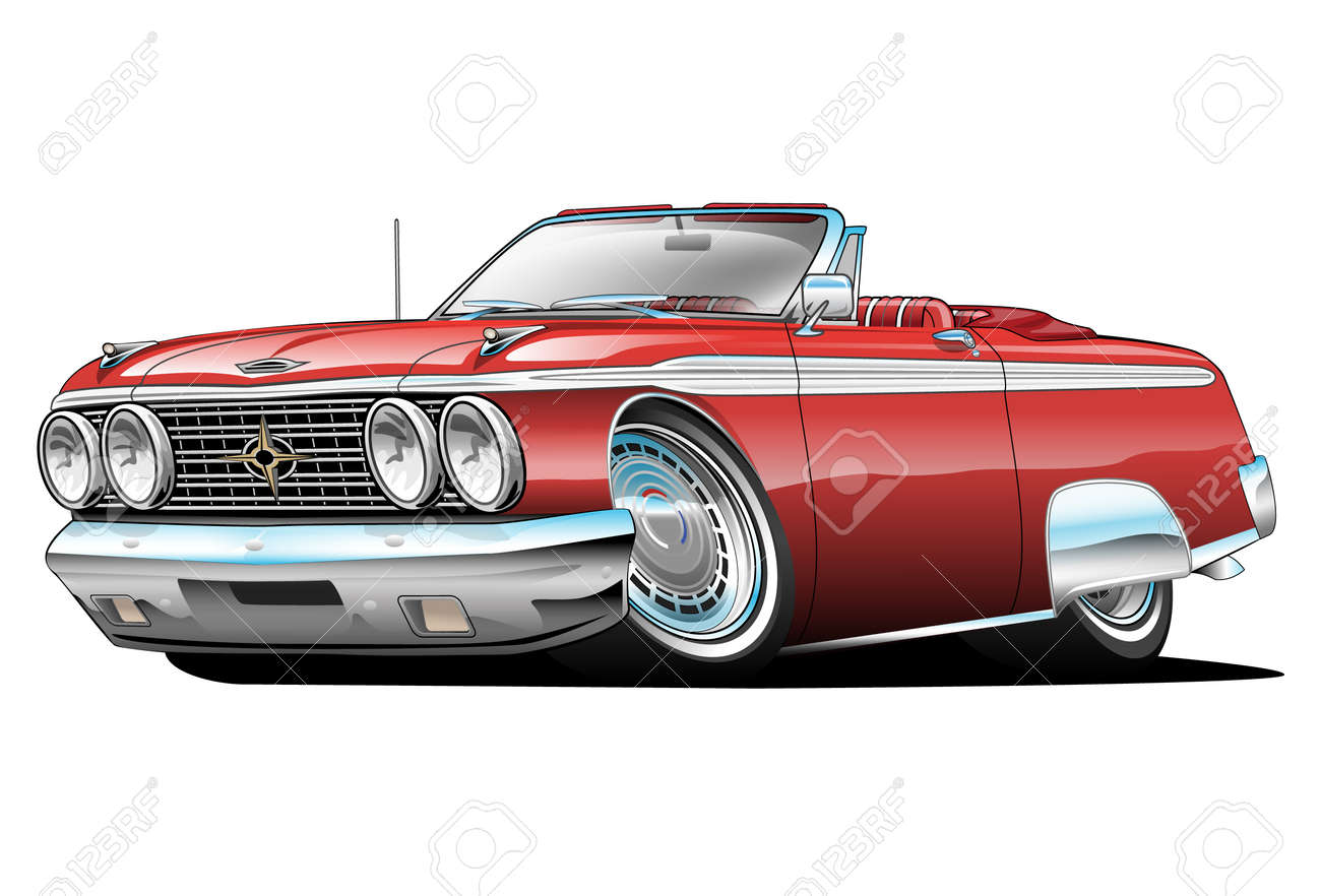 American Classic Car Red Cartoon Illustration Isolated On White