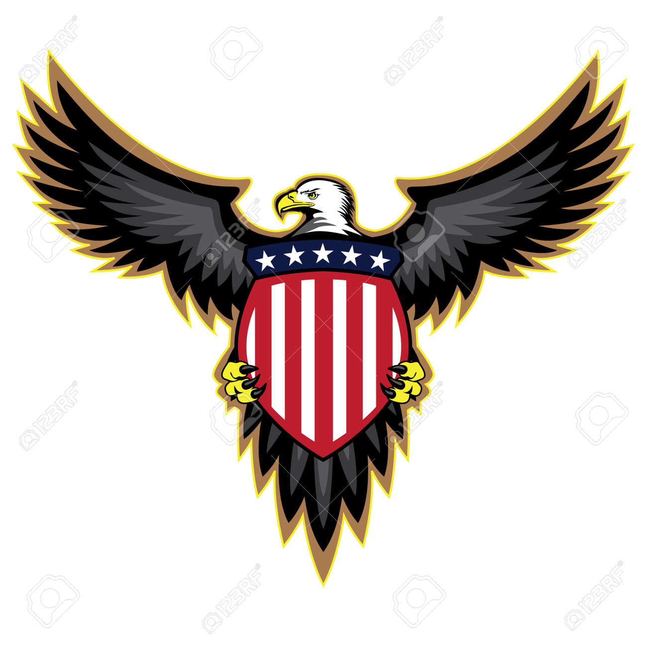 patriotic american eagle wings spread holding shield royalty free