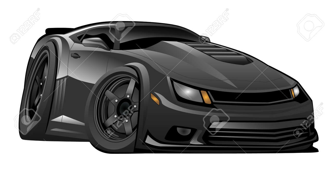Black Modern American Muscle Car Illustration Royalty Free Cliparts