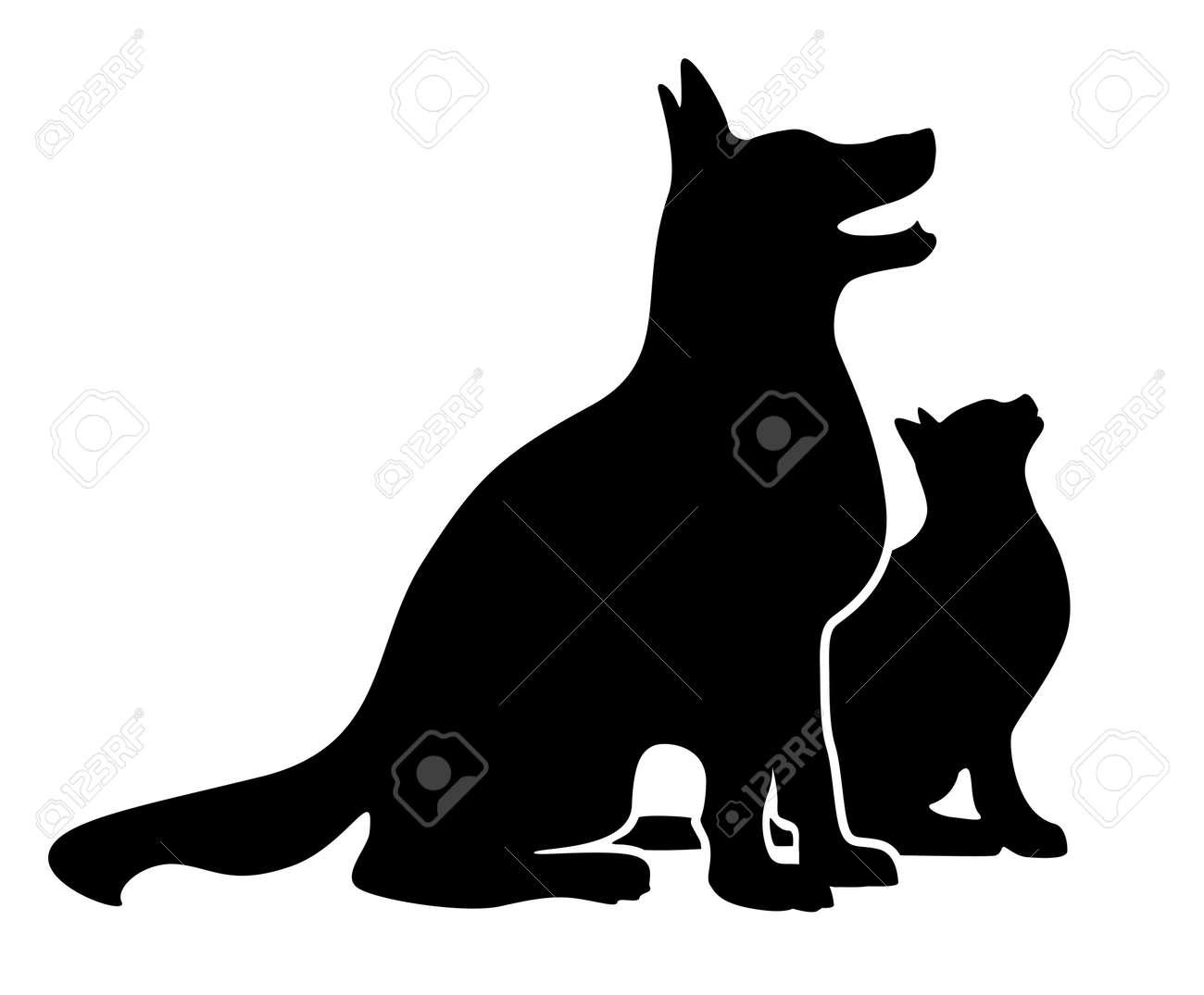 gatos silueta Perro y la silueta del gato