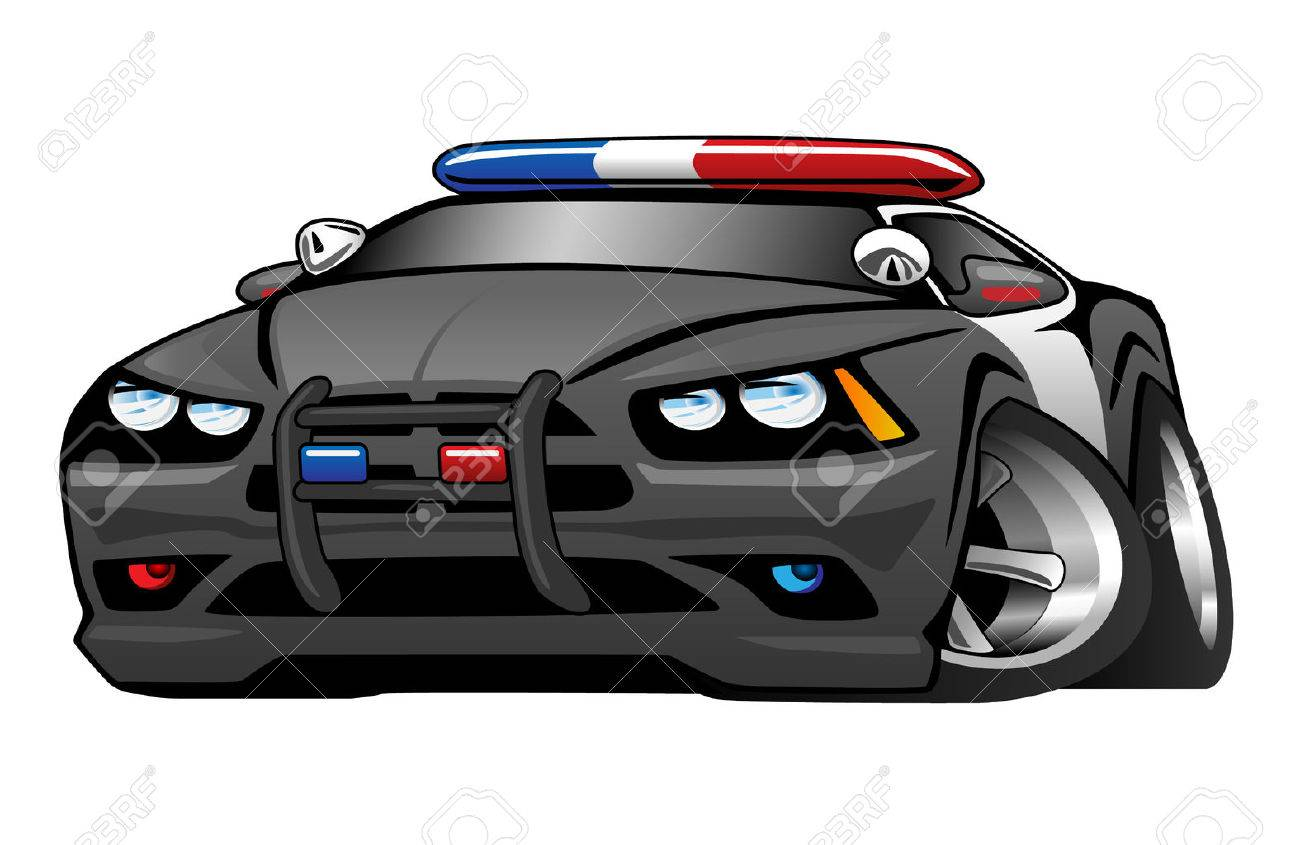 Police Muscle Car Cartoon Illustration Royalty Free Cliparts