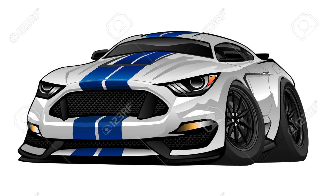 Modern American Muscle Car Cartoon Illustration Royalty Free