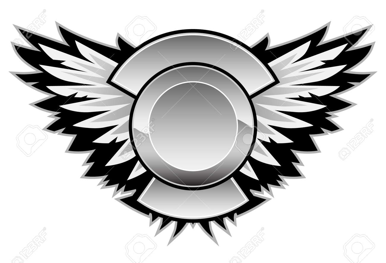 wings logo with a center area for your logo and custom text royalty rh 123rf com free vector wings clip art angel wings free vector