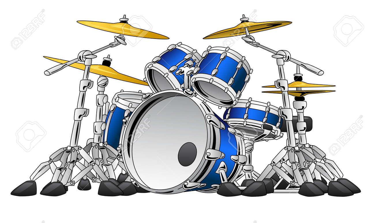 5 Piece Drum Set Musical Instrument Illustration - 76245041
