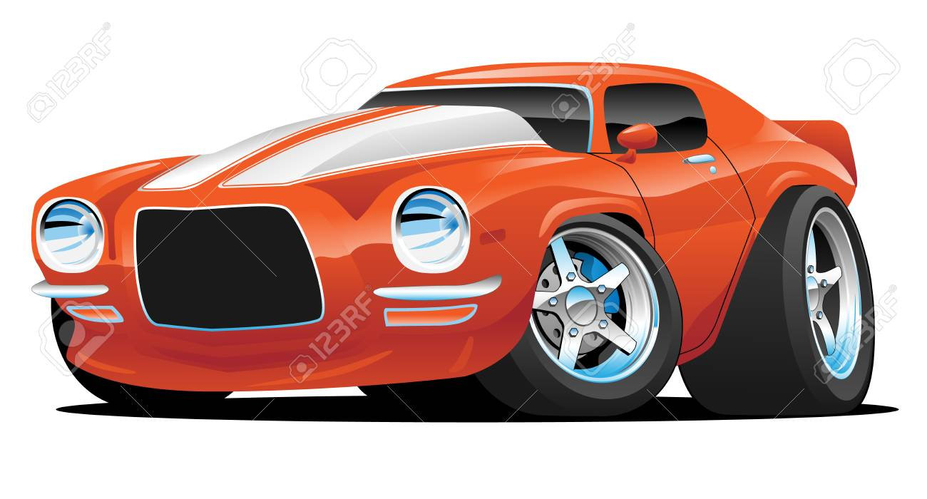 Classic Muscle Car Cartoon Illustration Royalty Free Cliparts