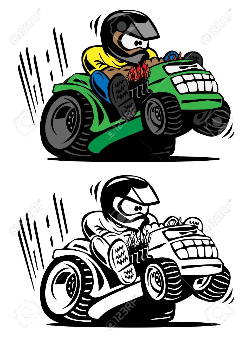Cartoon racing lawnmower vector illustration - 98913508