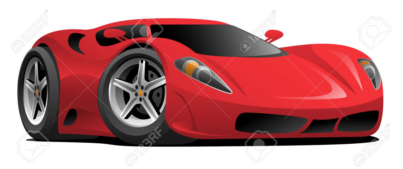 Red Hot European Style Sports,Car Cartoon Vector Illustration