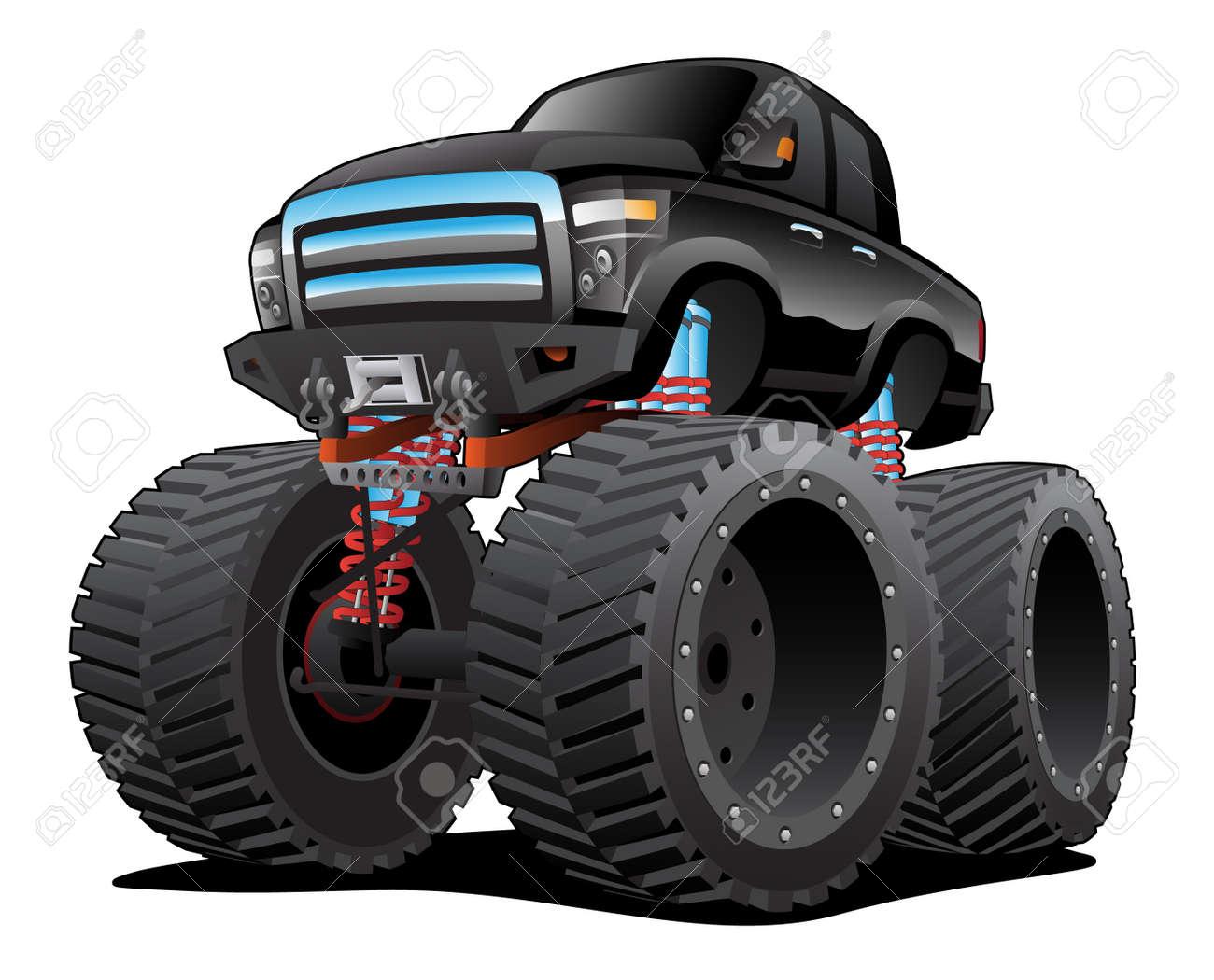 Monster Pickup Truck Cartoon Isolated Vector Illustration - 133200017