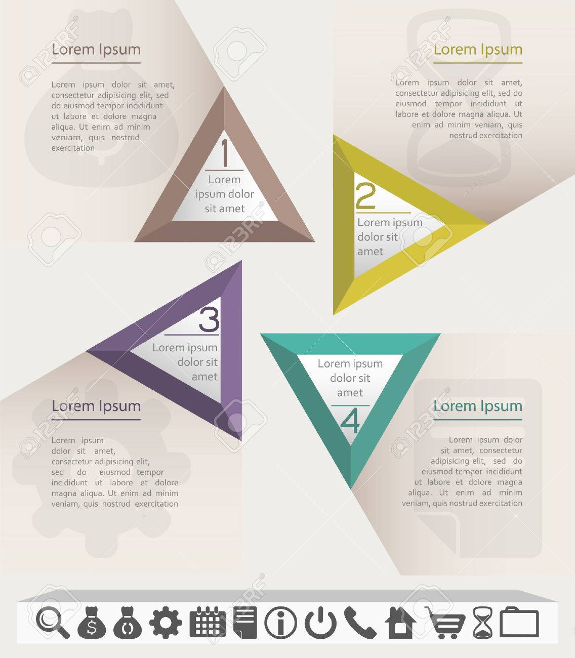 Business Infographic Chart Or Website Template With Set Of Icons ...