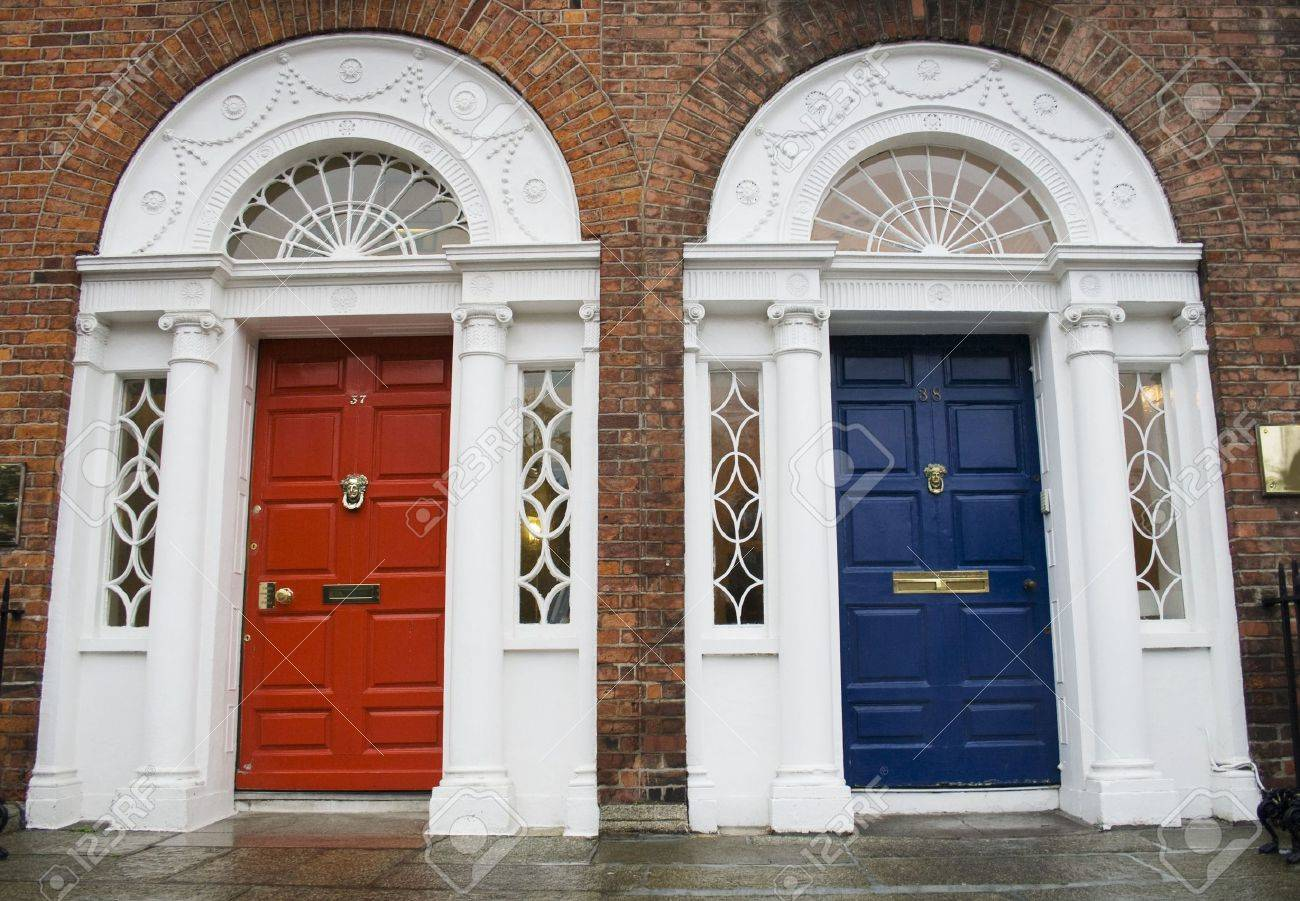Dublin red and blue doors in Georgian architecture Stock Photo - 2114507