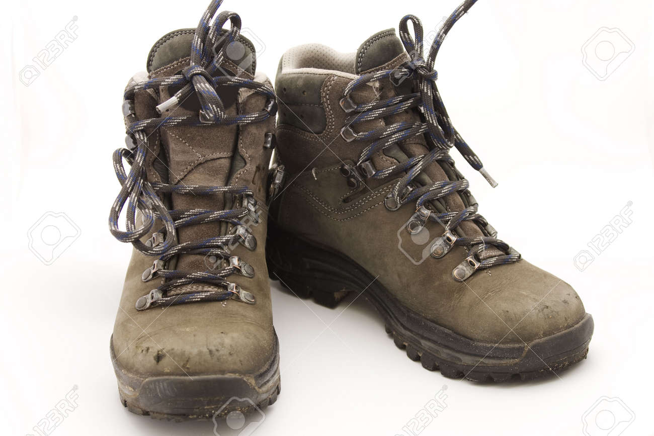 Pair Of Sturdy Used Hiking Boots On White Background Stock Photo ...