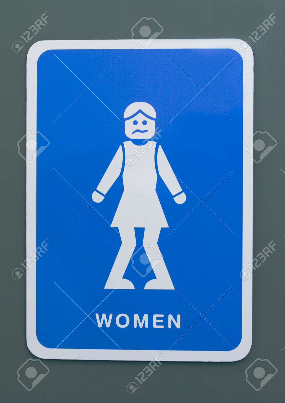 Funny toilet sign of a woman with knees pressed together Stock Photo - 4742190