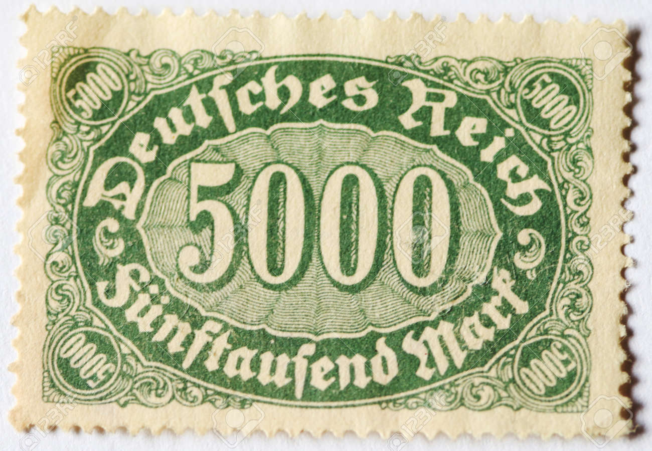 Old Postage Stamp Of 5000 German Marks From 1920s Stock Photo