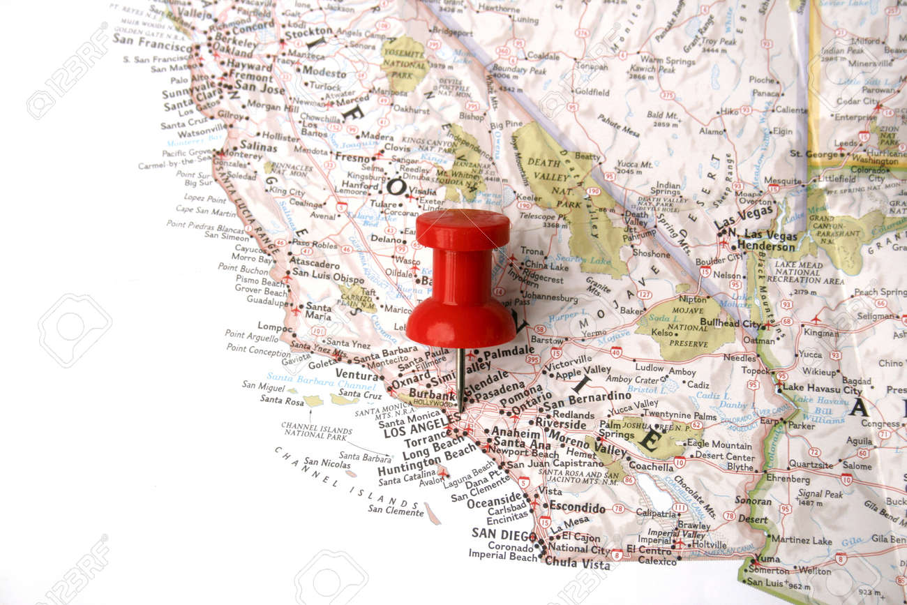 red pin on Los Angeles on map of californai Stock Photo - 8864669