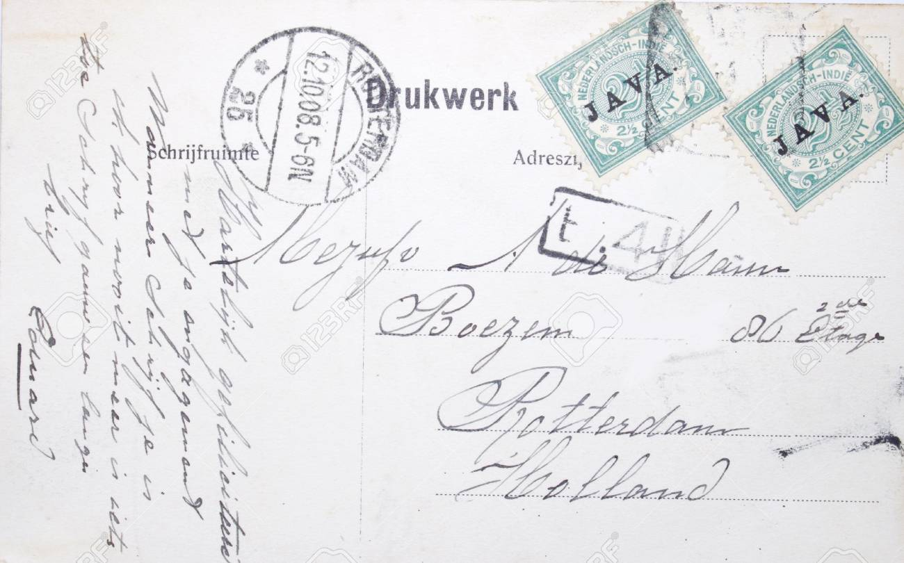 Vintage postcard sent from Java in the East Indies with address