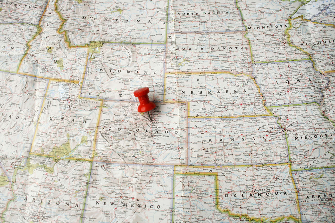 Red Pin On Map Of USA Pointing At Denver Colorado Stock Photo - Map of usa where is colorado