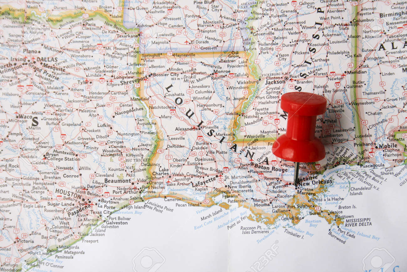 New Orleans In Usa Map.Red Pin On Map Of Usa Pointing At New Orleans Louisianana Stock