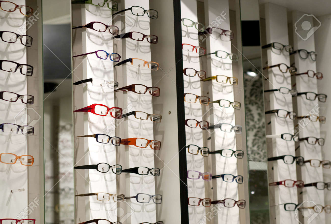 eyewear shop  Display In Store With Different Eyewear Models Stock Photo ...