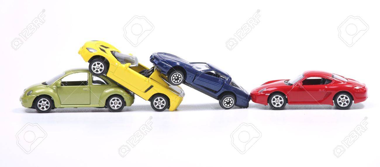 Toy cars in a simulated chain crash Stock Photo - 10551264