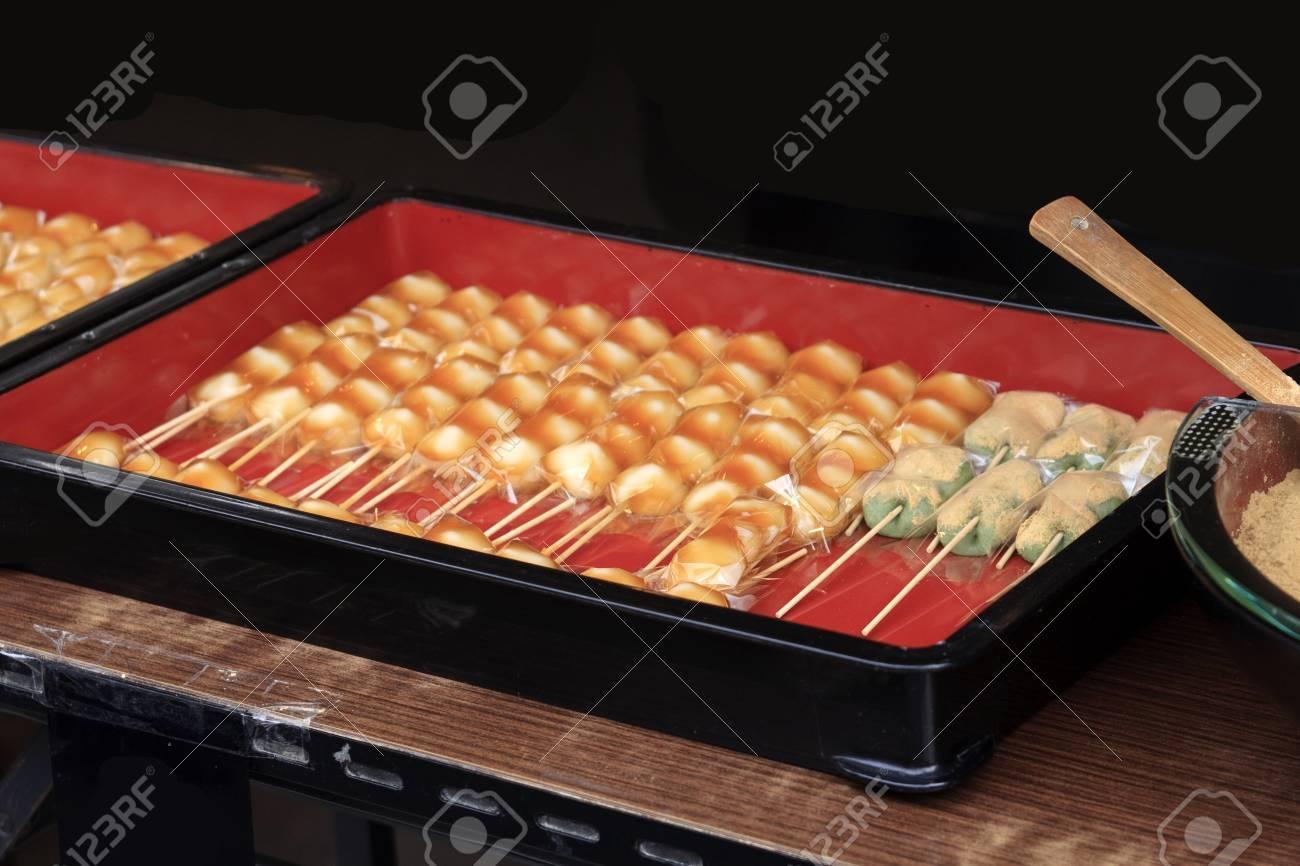 Japanese sweets called mitarashi dumplings in a box Stock Photo - 17094232