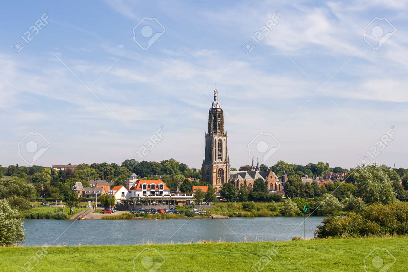 dutch landscape with town of rhenen and river rhine stock photo