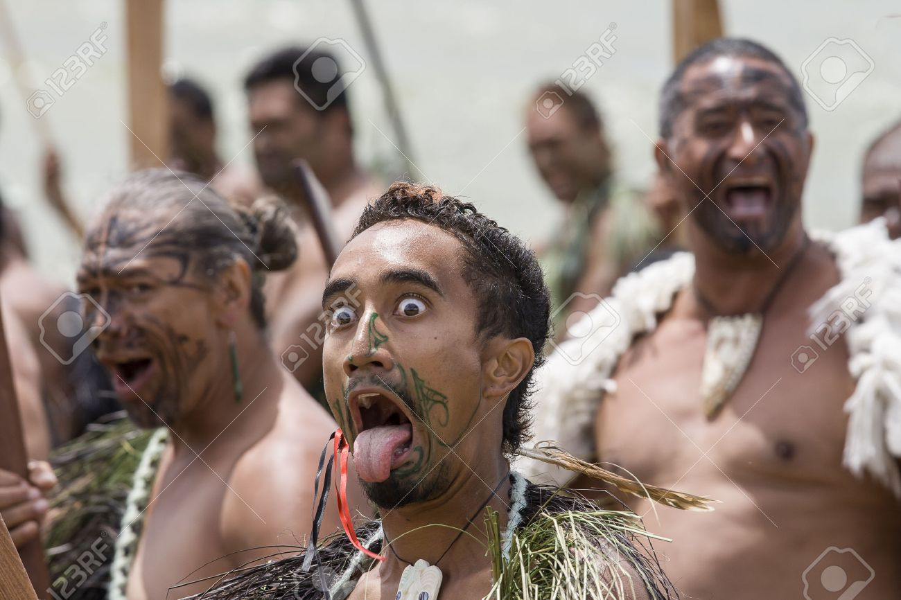 Miraculous Maori Krieger Collection Of New Zealand-feb 6 Warrior With Tongue Sticking